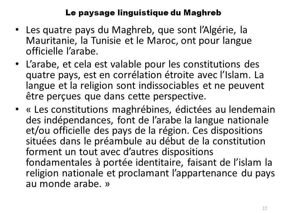 Le paysage linguistique du Maghreb Les quatre pays du Maghreb, que sont lAlgérie, la Mauritanie, la Tunisie et le Maroc, ont pour langue officielle la