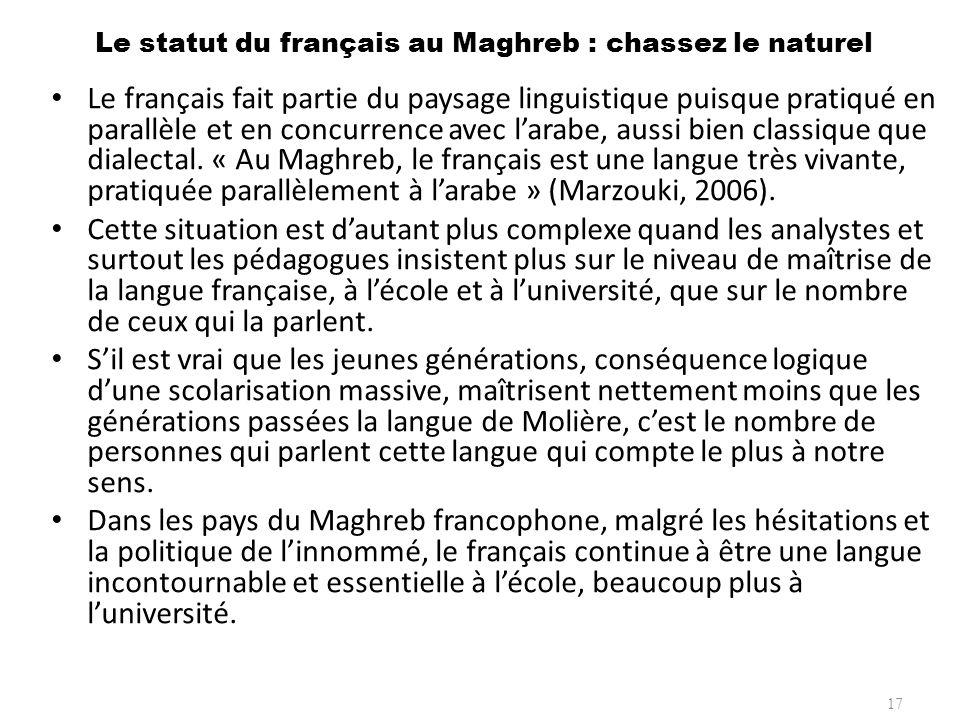 Le statut du français au Maghreb : chassez le naturel Le français fait partie du paysage linguistique puisque pratiqué en parallèle et en concurrence