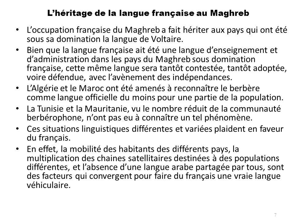 Lhéritage de la langue française au Maghreb Loccupation française du Maghreb a fait hériter aux pays qui ont été sous sa domination la langue de Volta