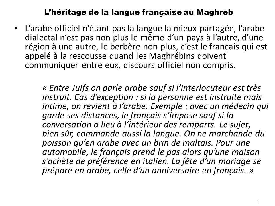 Lhéritage de la langue française au Maghreb Larabe officiel nétant pas la langue la mieux partagée, larabe dialectal nest pas non plus le même dun pay