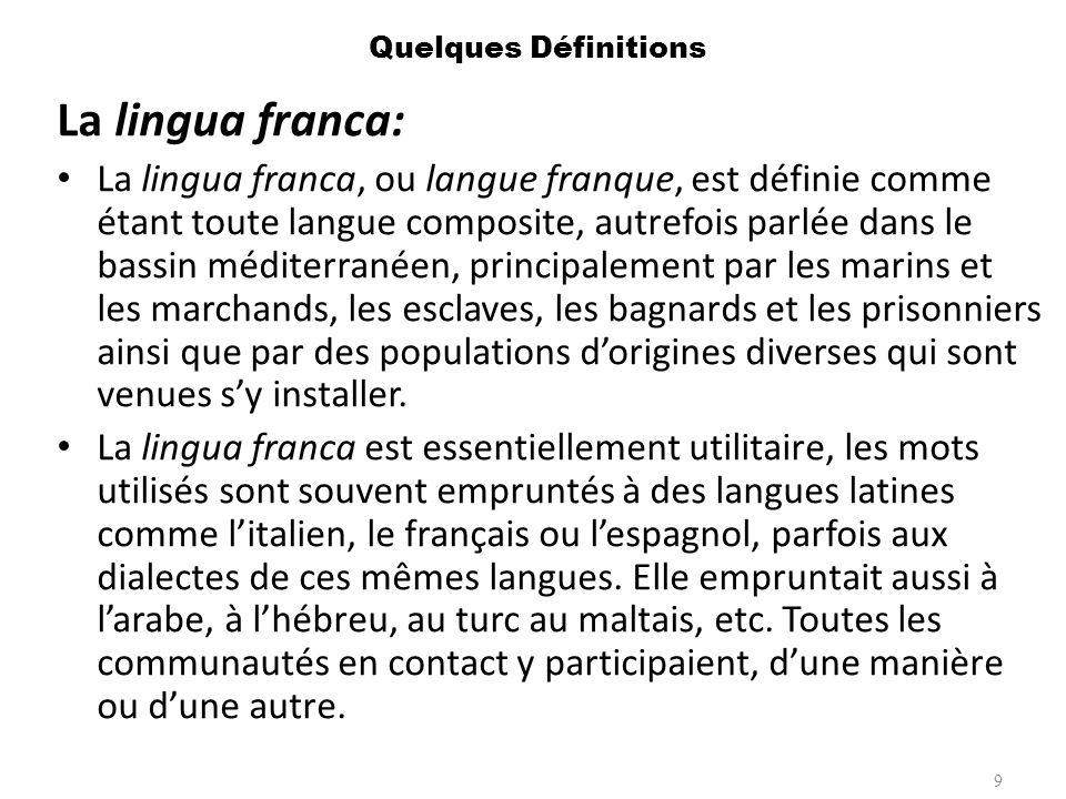 Quelques Définitions La lingua franca: La lingua franca, ou langue franque, est définie comme étant toute langue composite, autrefois parlée dans le b