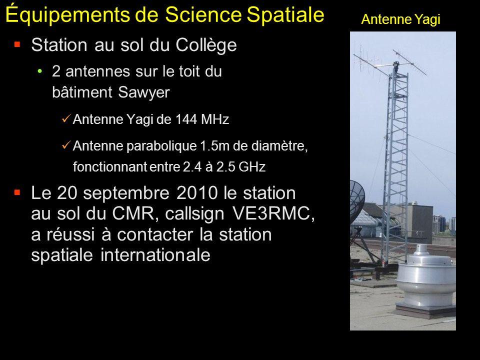 Équipements de Science Spatiale Station au sol du Collège 2 antennes sur le toit du bâtiment Sawyer Antenne Yagi de 144 MHz Antenne parabolique 1.5m d
