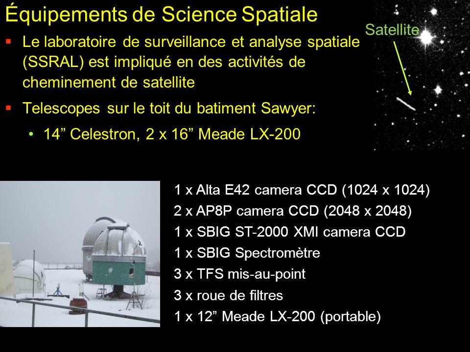 Équipements de Science Spatiale Le laboratoire de surveillance et analyse spatiale (SSRAL) est impliqué en des activités de cheminement de satellite T