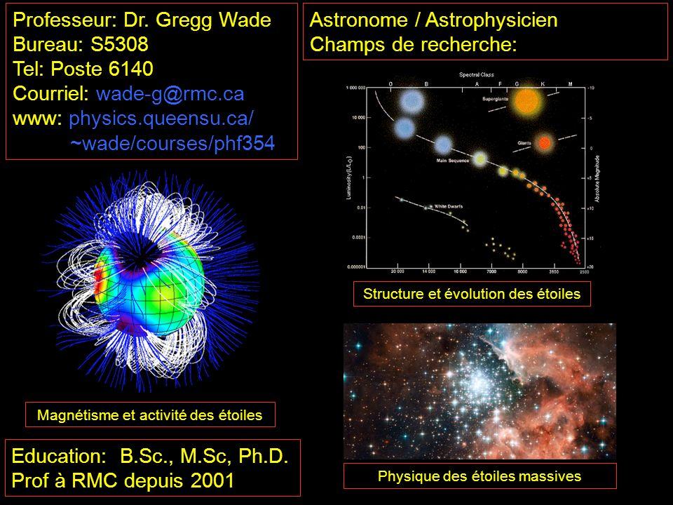 Astronome / Astrophysicien Champs de recherche: Education: B.Sc., M.Sc, Ph.D. Prof à RMC depuis 2001 Structure et évolution des étoiles Magnétisme et