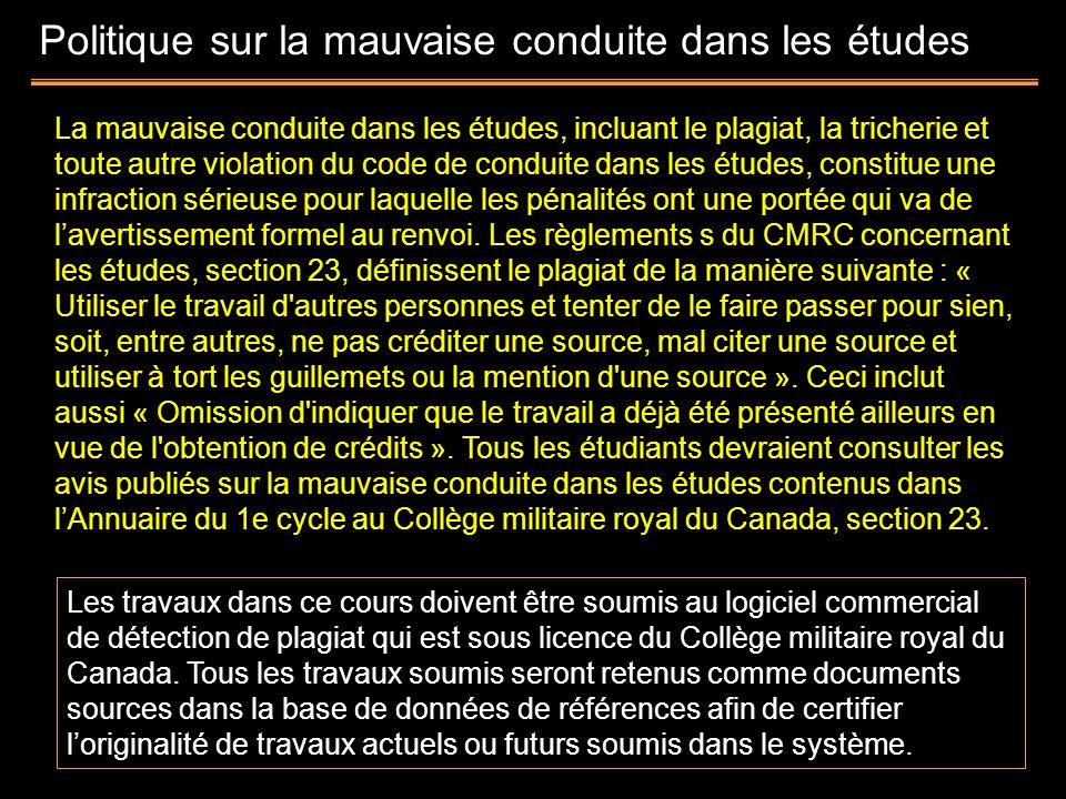Politique sur la mauvaise conduite dans les études La mauvaise conduite dans les études, incluant le plagiat, la tricherie et toute autre violation du