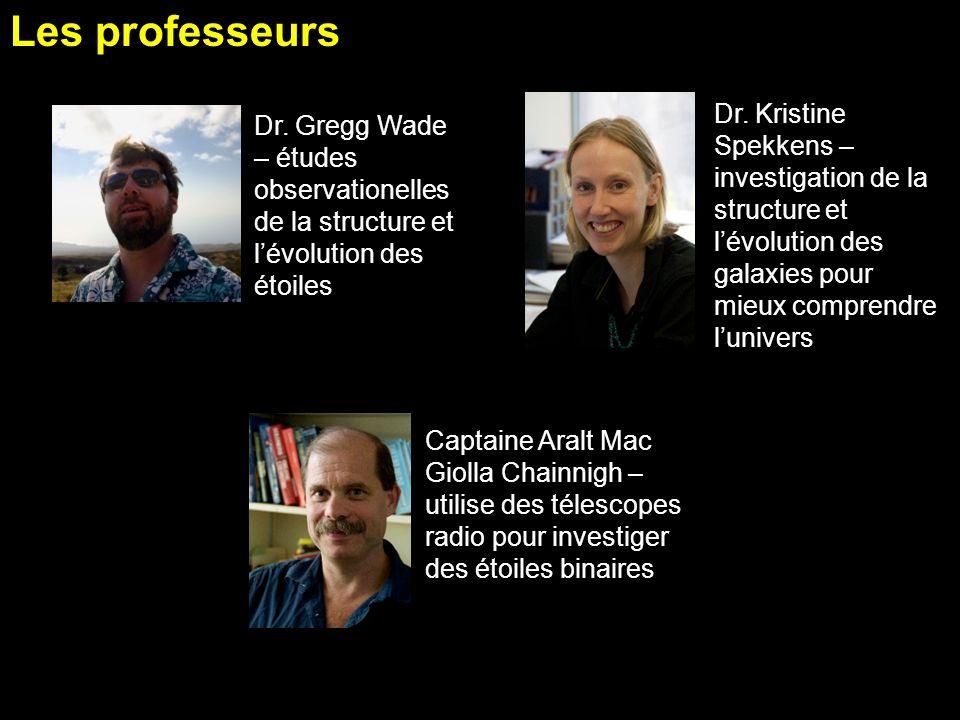 Les professeurs Dr. Kristine Spekkens – investigation de la structure et lévolution des galaxies pour mieux comprendre lunivers Dr. Gregg Wade – étude