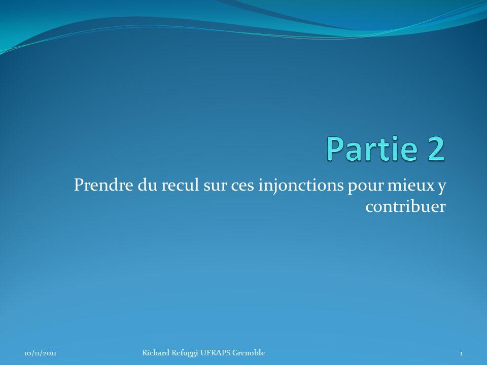 Prendre du recul sur ces injonctions pour mieux y contribuer 1Richard Refuggi UFRAPS Grenoble10/11/2011