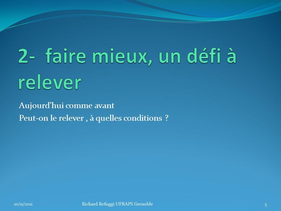 Aujourdhui comme avant Peut-on le relever, à quelles conditions ? 5Richard Refuggi UFRAPS Grenoble10/11/2011