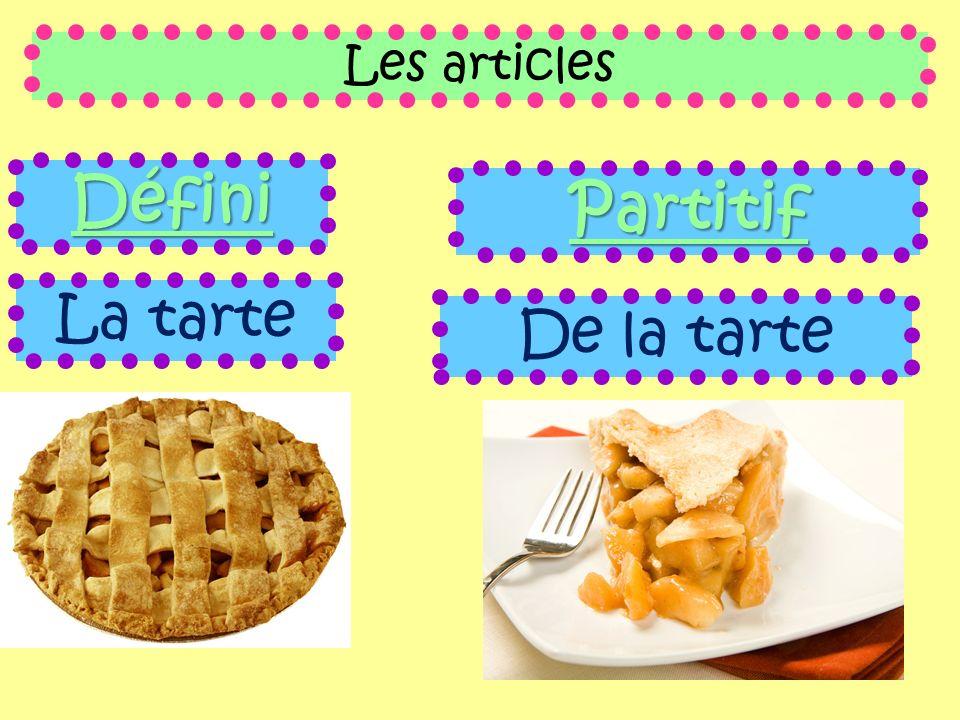 Les articles Défini La tarte Partitif De la tarte