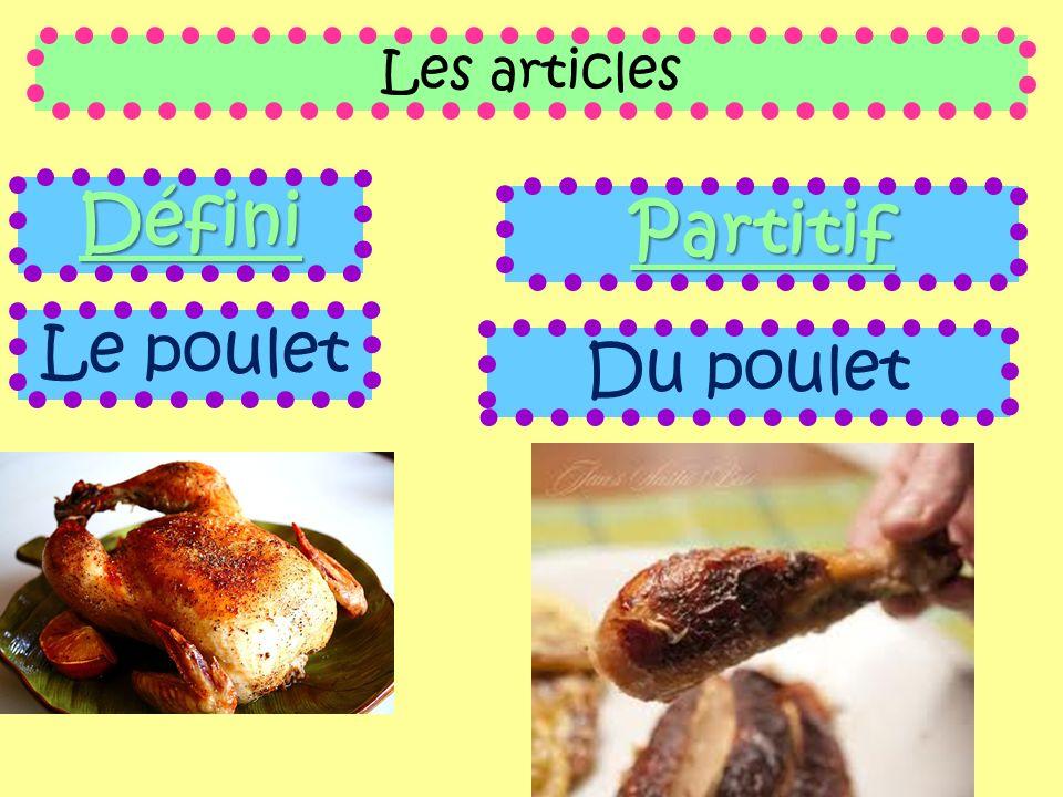 Les articles Défini Le poulet Partitif Du poulet