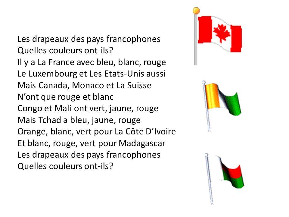 Les drapeaux des pays francophones Quelles couleurs ont-ils? Il y a La France avec bleu, blanc, rouge Le Luxembourg et Les Etats-Unis aussi Mais Canad