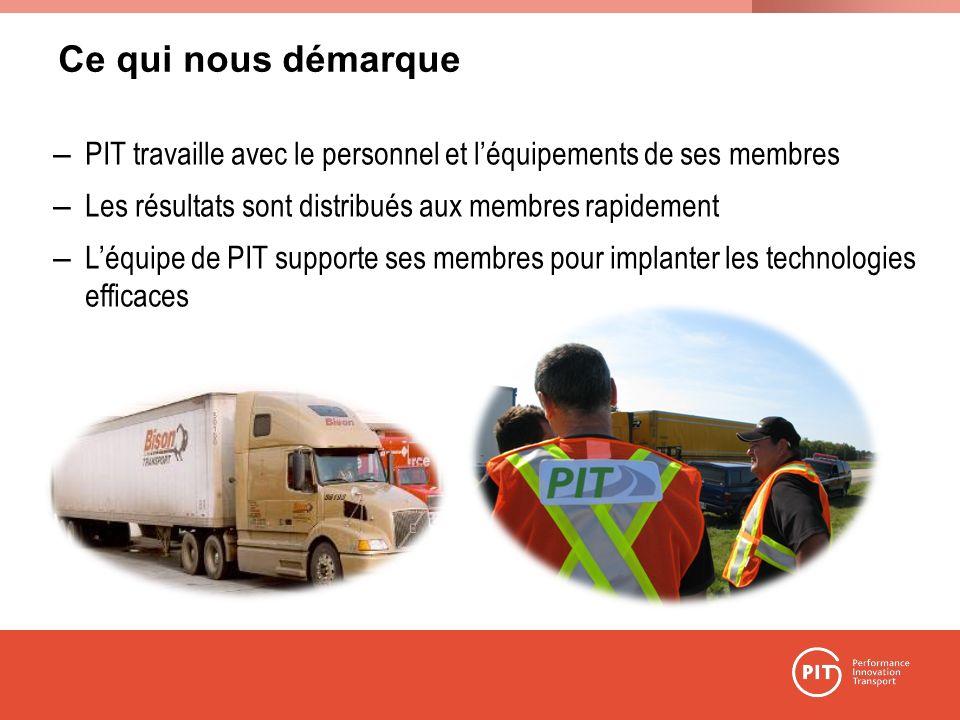 Ce qui nous démarque – PIT travaille avec le personnel et léquipements de ses membres – Les résultats sont distribués aux membres rapidement – Léquipe de PIT supporte ses membres pour implanter les technologies efficaces