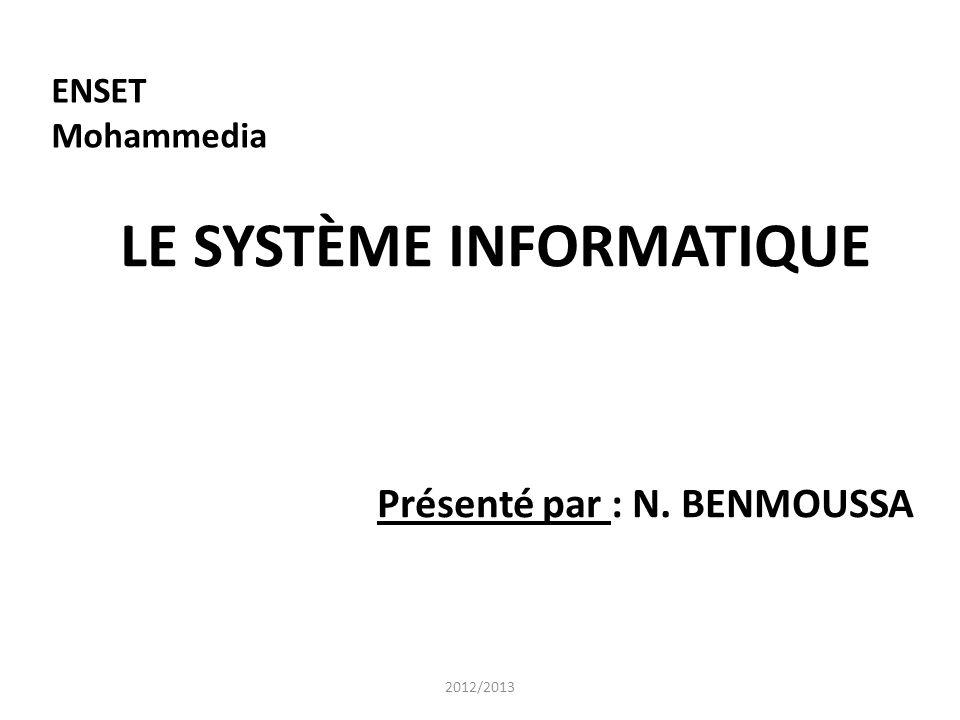 ENSET Mohammedia LE SYSTÈME INFORMATIQUE Présenté par : N. BENMOUSSA 2012/2013
