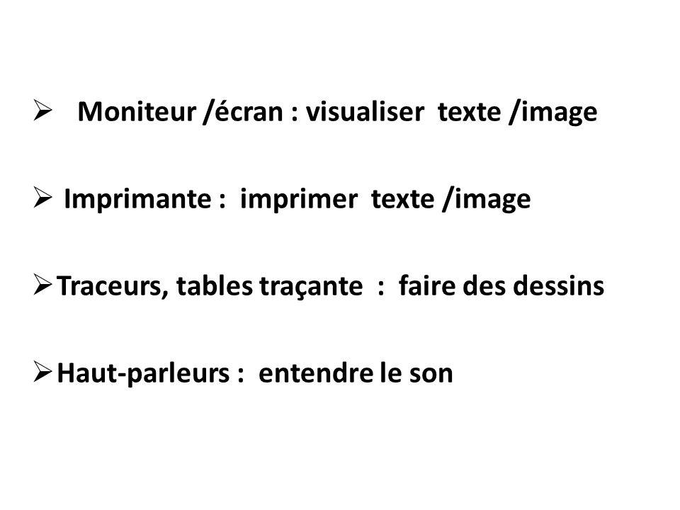 Moniteur /écran : visualiser texte /image Imprimante : imprimer texte /image Traceurs, tables traçante : faire des dessins Haut-parleurs : entendre le son