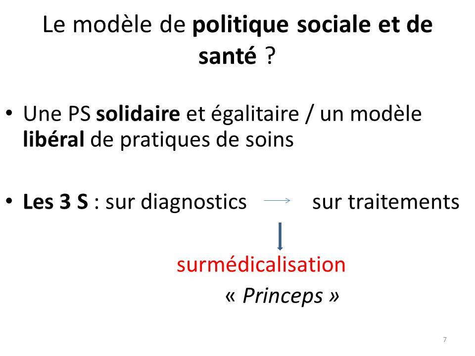 Le modèle de politique sociale et de santé ? Une PS solidaire et égalitaire / un modèle libéral de pratiques de soins Les 3 S : sur diagnostics sur tr