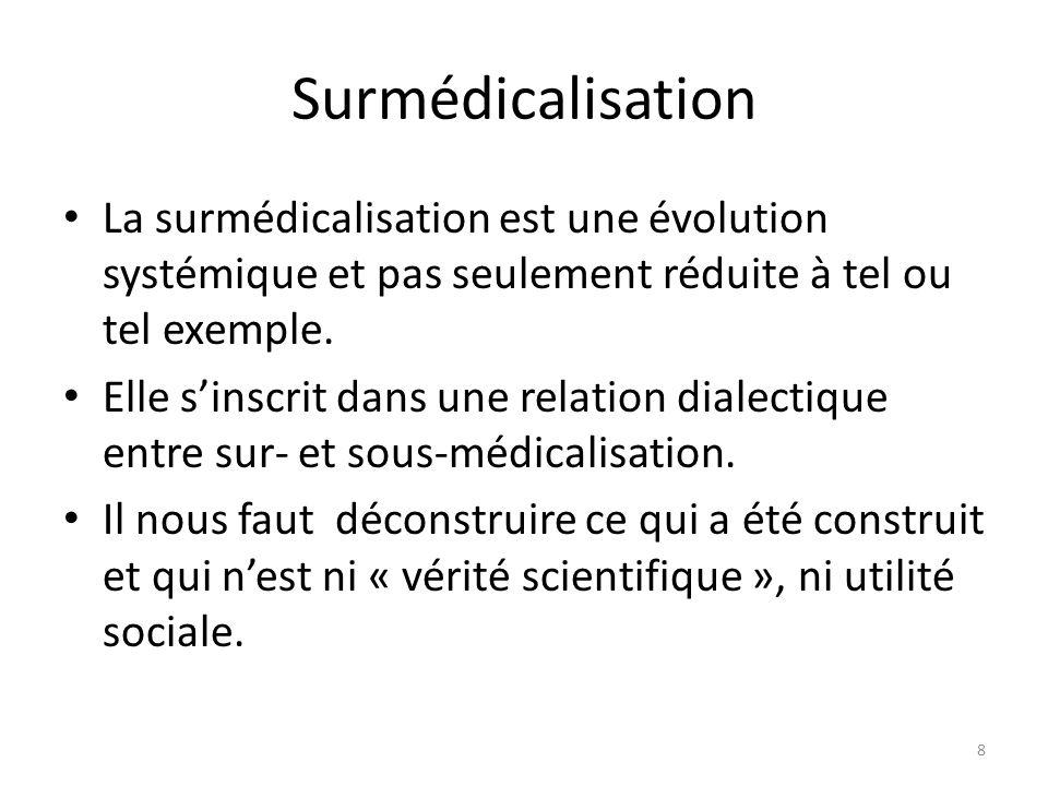 Surmédicalisation La surmédicalisation est une évolution systémique et pas seulement réduite à tel ou tel exemple. Elle sinscrit dans une relation dia