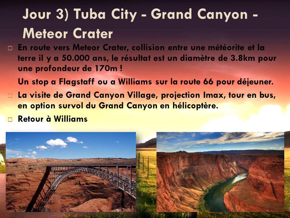 Jour 3) Tuba City - Grand Canyon - Meteor Crater En route vers Meteor Crater, collision entre une météorite et la terre il y a 50.000 ans, le résultat