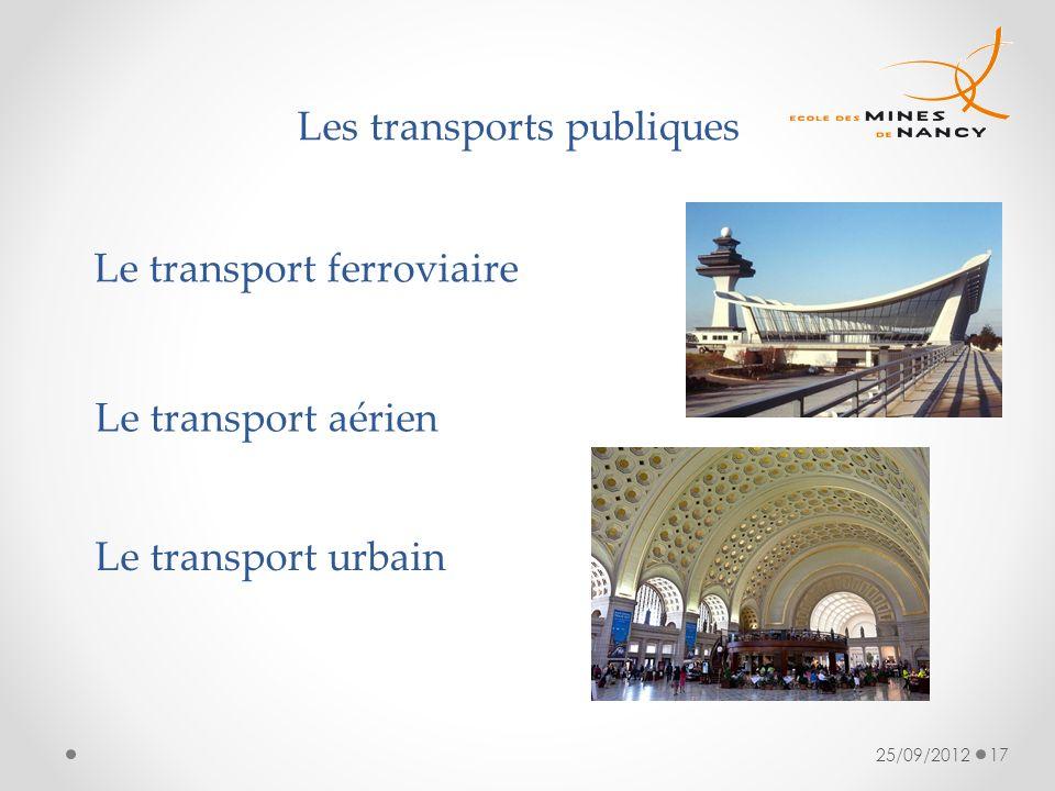 25/09/201217 Les transports publiques Le transport ferroviaire Le transport aérien Le transport urbain