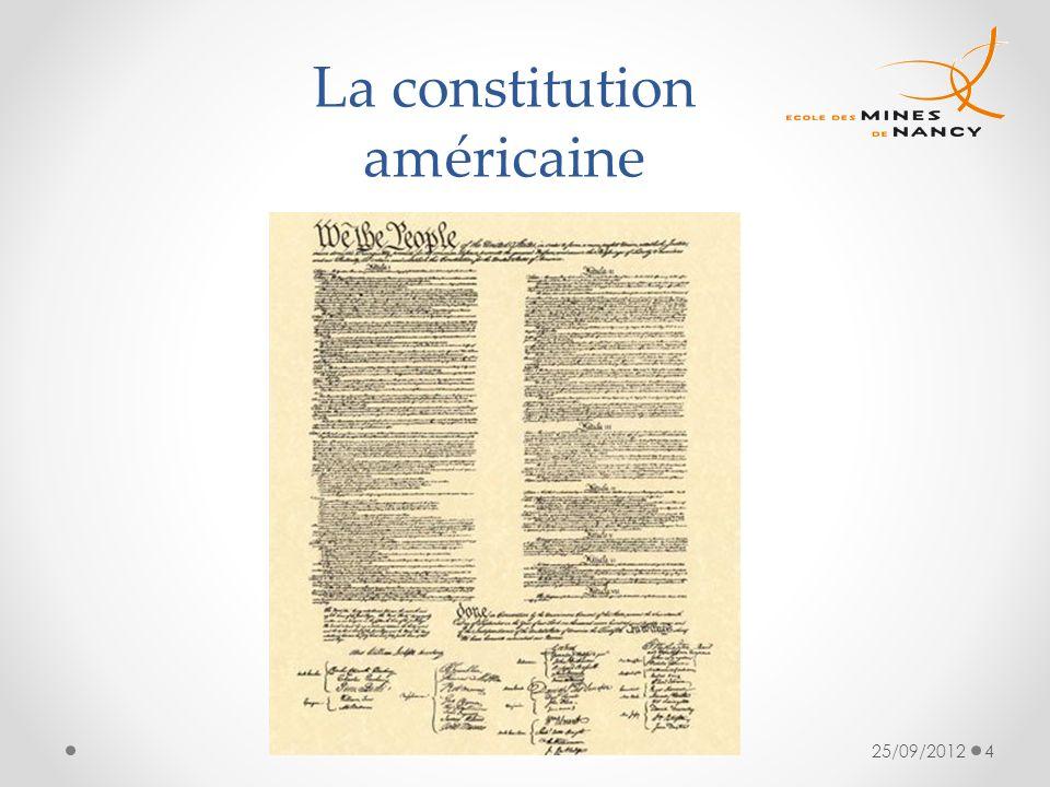 25/09/20124 La constitution américaine