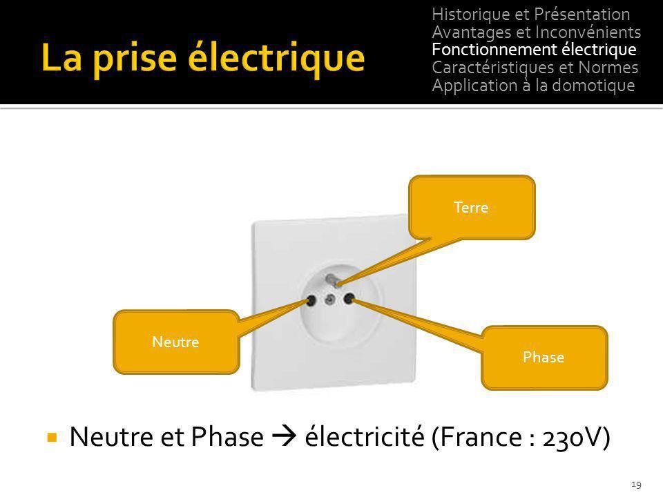 Neutre et Phase électricité (France : 230V) 19 Terre Phase Neutre Historique et Présentation Avantages et Inconvénients Fonctionnement électrique Cara