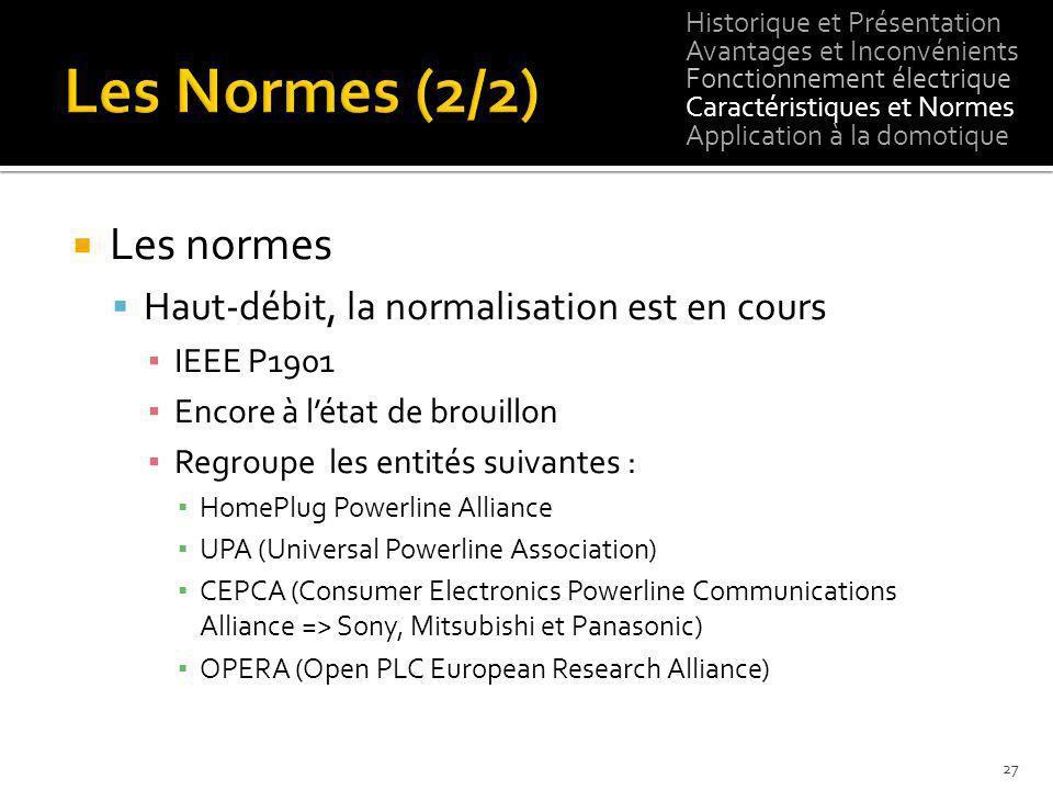 Les normes Haut-débit, la normalisation est en cours IEEE P1901 Encore à létat de brouillon Regroupe les entités suivantes : HomePlug Powerline Allian