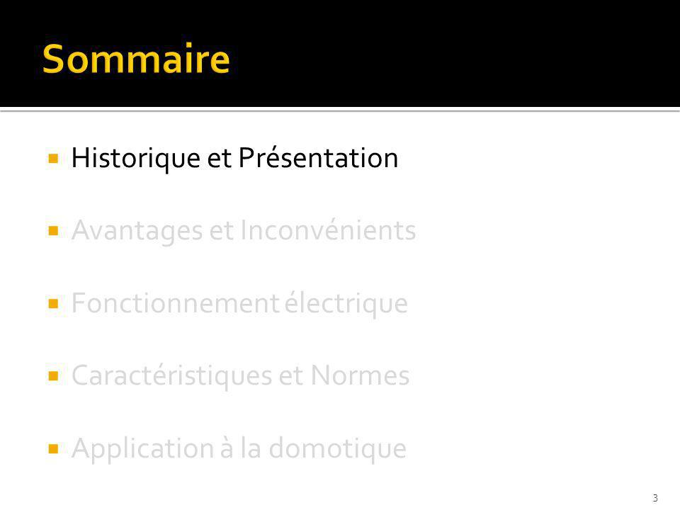 Historique et Présentation Avantages et Inconvénients Fonctionnement électrique Caractéristiques et Normes Application à la domotique 3