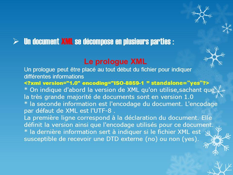 Un document XML se décompose en plusieurs parties : Le prologue XML Un prologue peut être placé au tout début du fichier pour indiquer différentes inf