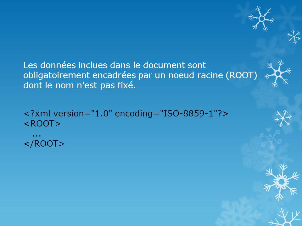 Les données inclues dans le document sont obligatoirement encadrées par un noeud racine (ROOT) dont le nom n'est pas fixé....