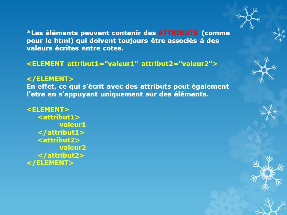 *Les éléments peuvent contenir des ATTRIBUTS (comme pour le html) qui doivent toujours être associés à des valeurs écrites entre cotes. En effet, ce q