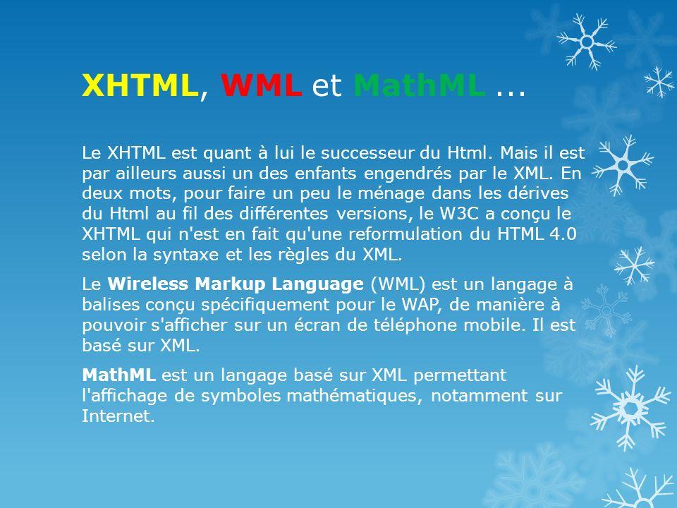 XHTML, WML et MathML... Le XHTML est quant à lui le successeur du Html. Mais il est par ailleurs aussi un des enfants engendrés par le XML. En deux mo