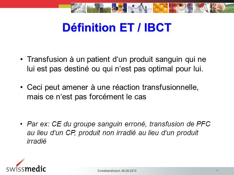 Définition ET / IBCT Transfusion à un patient dun produit sanguin qui ne lui est pas destiné ou qui nest pas optimal pour lui. Ceci peut amener à une