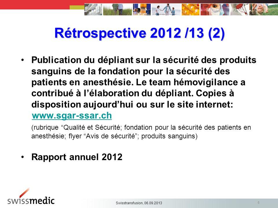6 Rétrospective 2012 /13 (2) Publication du dépliant sur la sécurité des produits sanguins de la fondation pour la sécurité des patients en anesthésie