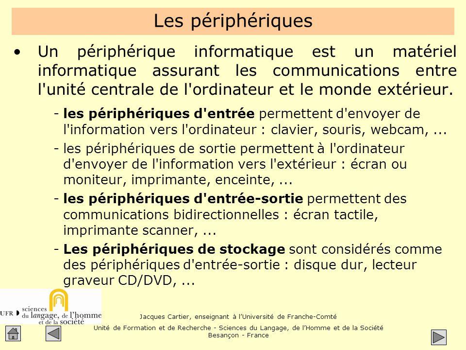 Jacques Cartier, enseignant à lUniversité de Franche-Comté Unité de Formation et de Recherche - Sciences du Langage, de lHomme et de la Société Besançon - France Lordinateur Un ordinateur est composé de plusieurs parties.