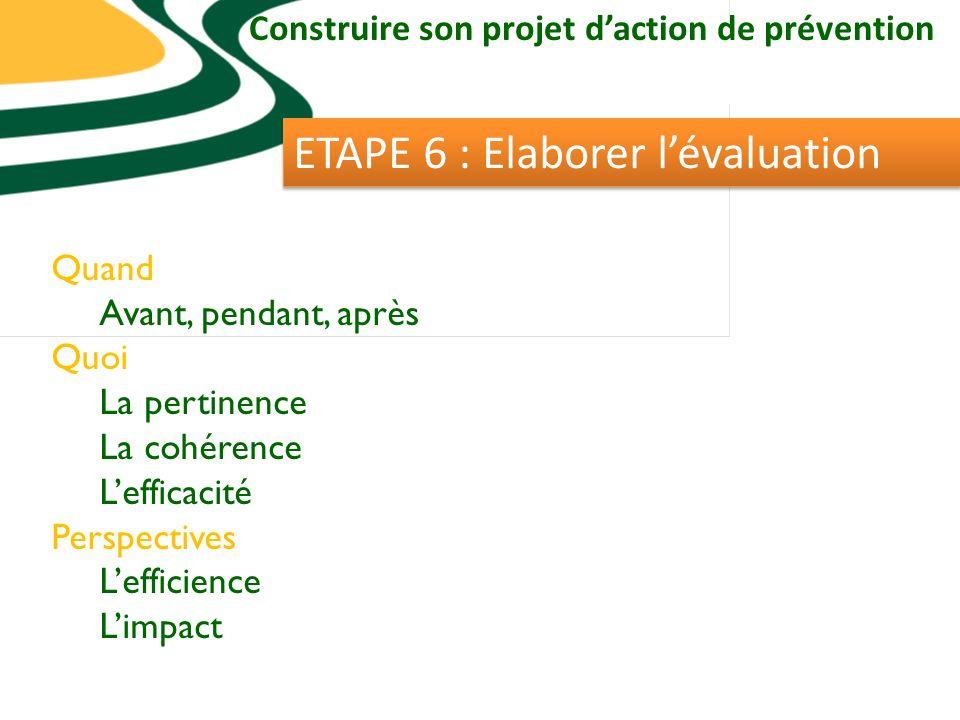 Construire son projet daction de prévention ETAPE 6 : Elaborer lévaluation Quand Avant, pendant, après Quoi La pertinence La cohérence Lefficacité Perspectives Lefficience Limpact