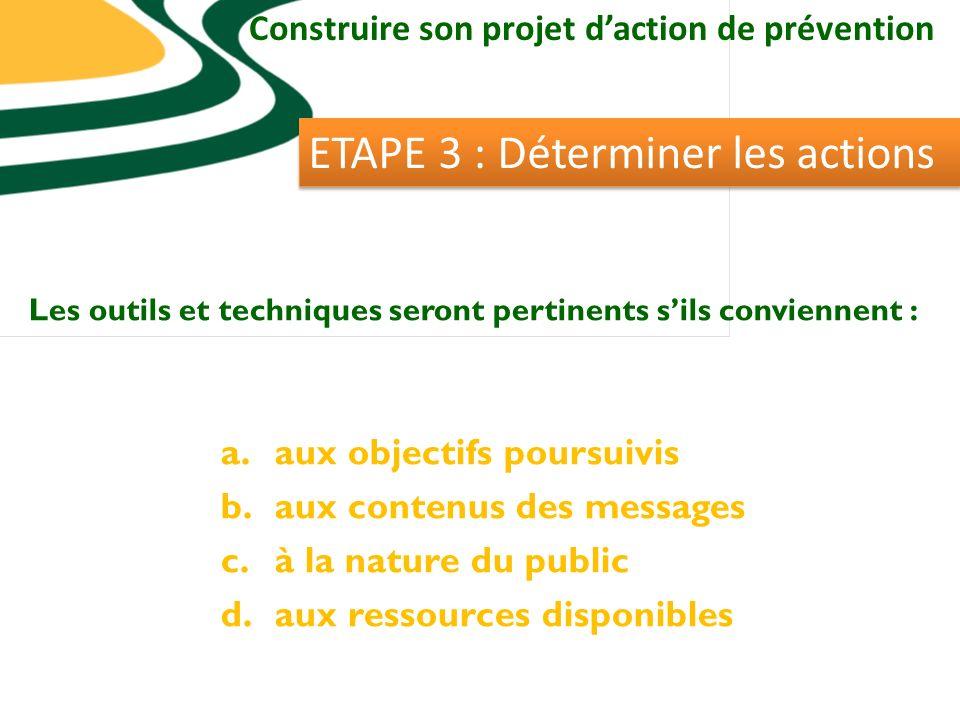 Construire son projet daction de prévention ETAPE 3 : Déterminer les actions Les outils et techniques seront pertinents sils conviennent : a.aux objectifs poursuivis b.aux contenus des messages c.à la nature du public d.aux ressources disponibles