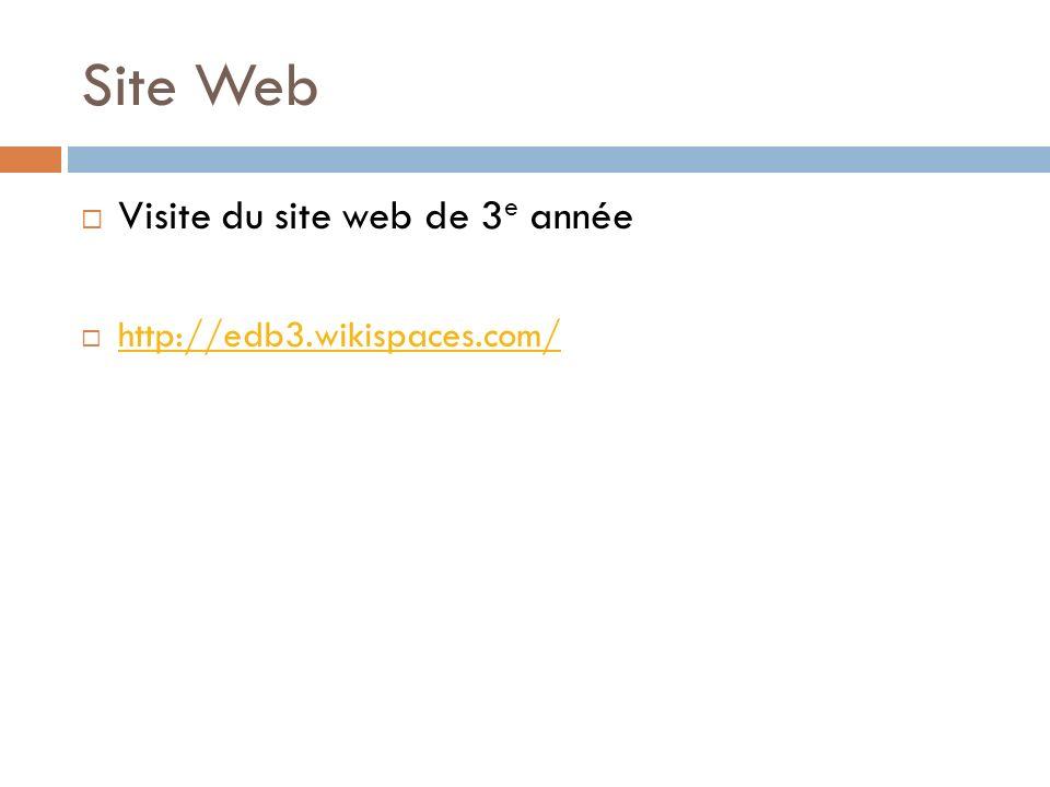 Site Web Visite du site web de 3 e année http://edb3.wikispaces.com/