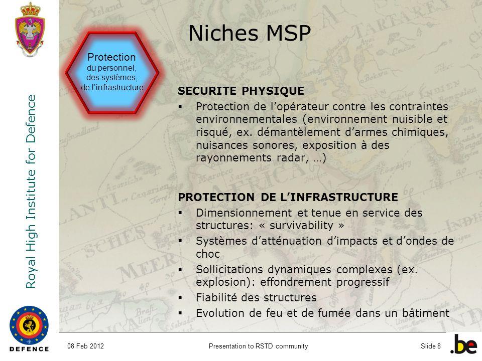Royal High Institute for Defence Presentation to RSTD communitySlide 8 SECURITE PHYSIQUE Protection de lopérateur contre les contraintes environnement