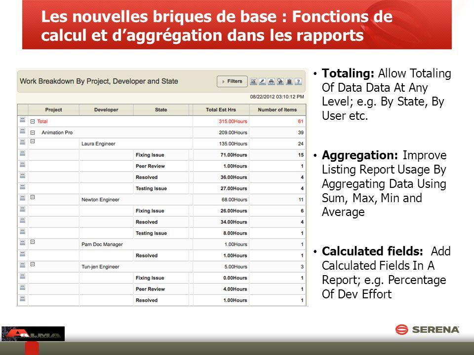 Les nouvelles briques de base : Fonctions de calcul et daggrégation dans les rapports Totaling: Allow Totaling Of Data Data At Any Level; e.g. By Stat