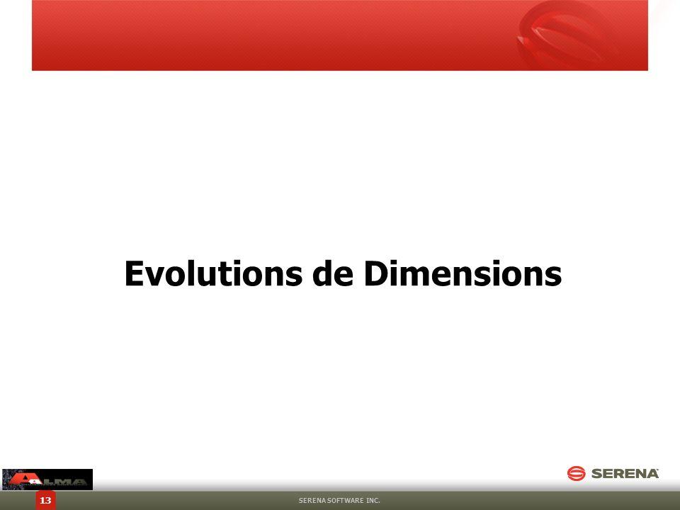 Evolutions de Dimensions SERENA SOFTWARE INC. 13
