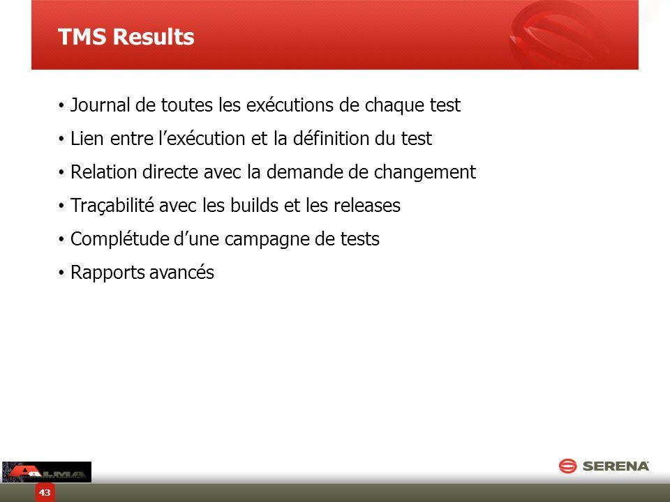 TMS Results Journal de toutes les exécutions de chaque test Lien entre lexécution et la définition du test Relation directe avec la demande de changem