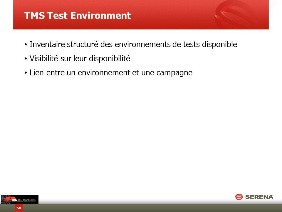 TMS Test Environment Inventaire structuré des environnements de tests disponible Visibilité sur leur disponibilité Lien entre un environnement et une