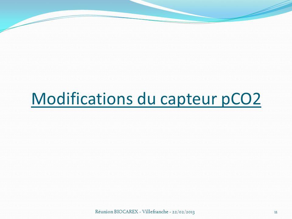 Réunion BIOCAREX - Villefranche - 22/02/2013 Modifications du capteur pCO2 11