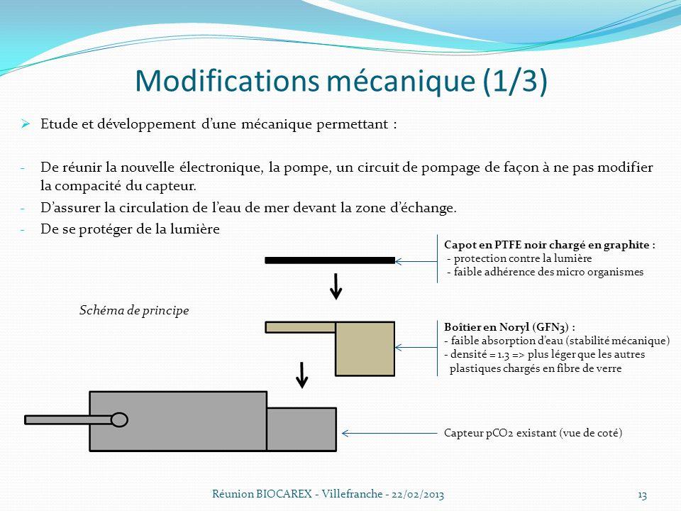 Réunion BIOCAREX - Villefranche - 22/02/201313 Modifications mécanique (1/3) Etude et développement dune mécanique permettant : - De réunir la nouvelle électronique, la pompe, un circuit de pompage de façon à ne pas modifier la compacité du capteur.