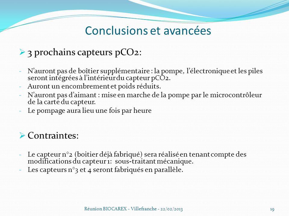 Conclusions et avancées 3 prochains capteurs pCO2: - Nauront pas de boîtier supplémentaire : la pompe, lélectronique et les piles seront intégrées à lintérieur du capteur pCO2.