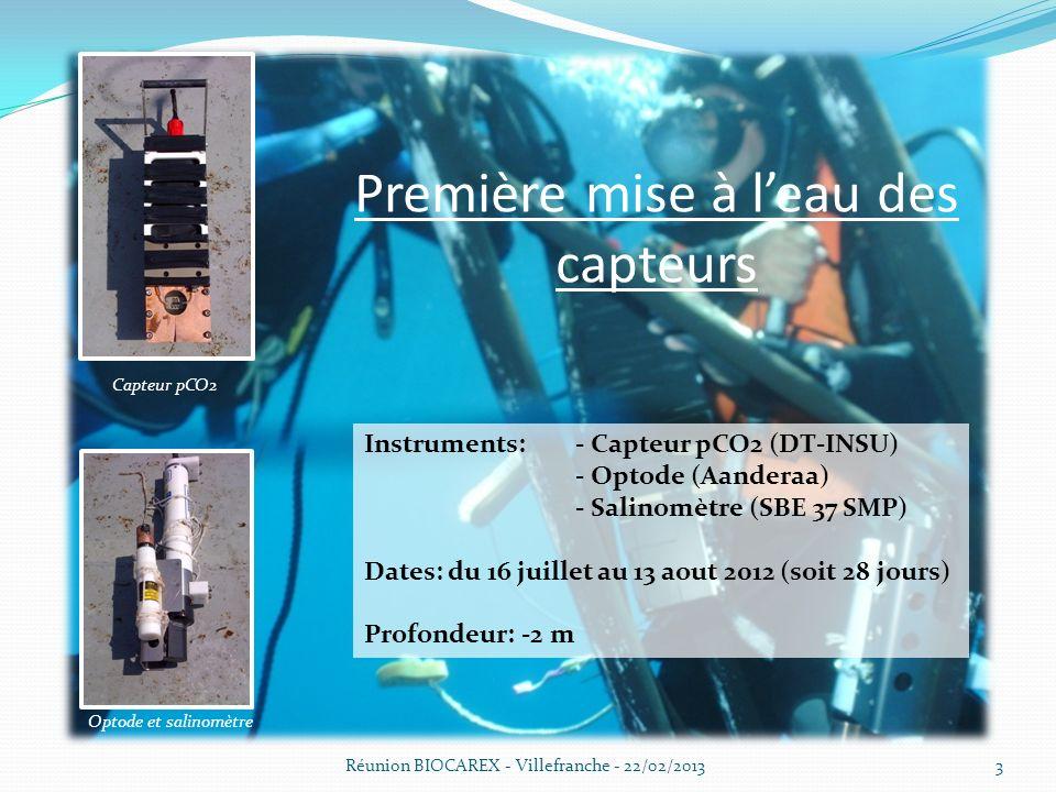 Première mise à leau des capteurs Réunion BIOCAREX - Villefranche - 22/02/20133 Capteur pCO2 Optode et salinomètre Instruments: - Capteur pCO2 (DT-INSU) - Optode (Aanderaa) - Salinomètre (SBE 37 SMP) Dates: du 16 juillet au 13 aout 2012 (soit 28 jours) Profondeur: -2 m
