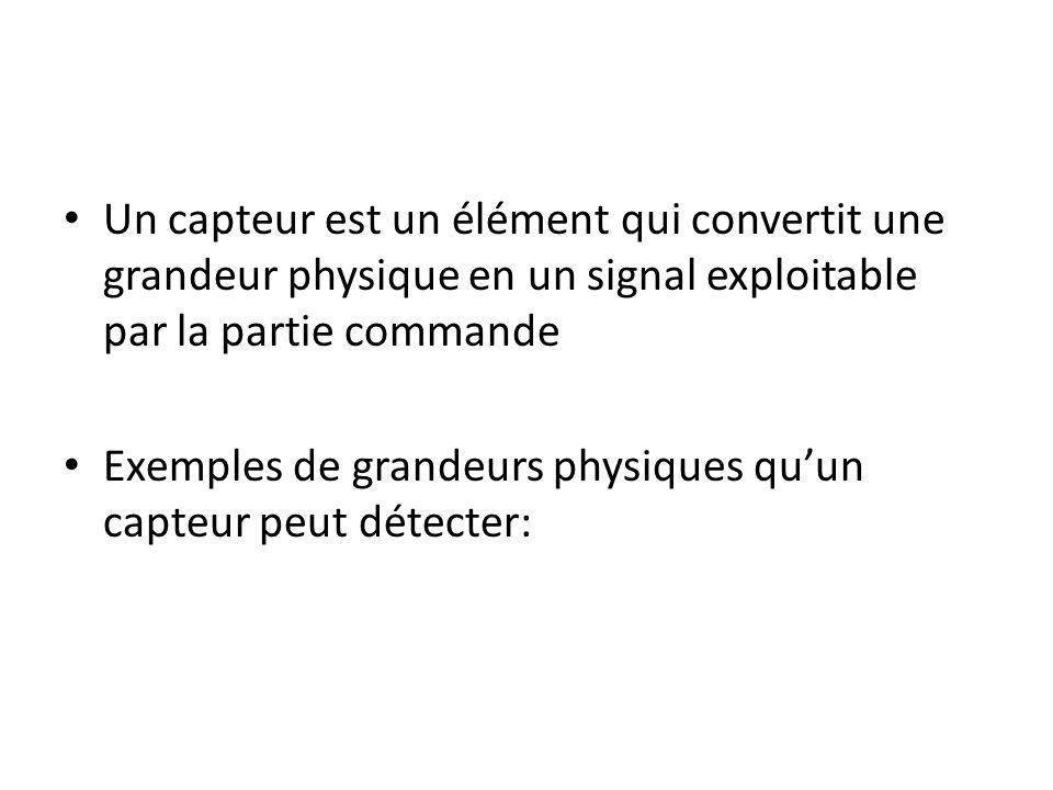 Un capteur est un élément qui convertit une grandeur physique en un signal exploitable par la partie commande Exemples de grandeurs physiques quun cap