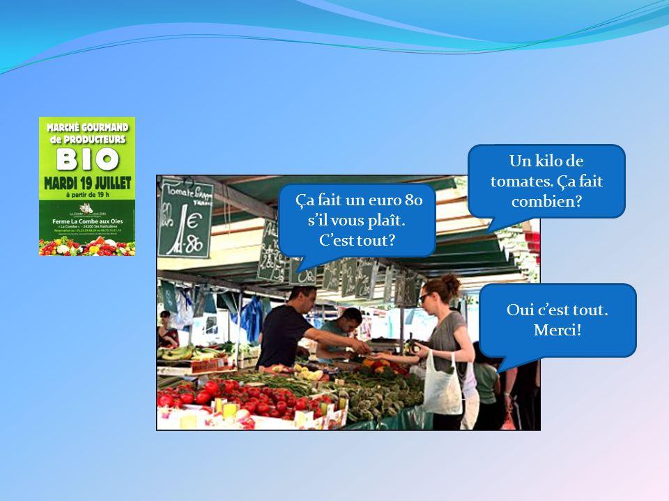 Un kilo de tomates. Ça fait combien. Ça fait un euro 80 sil vous plaît.