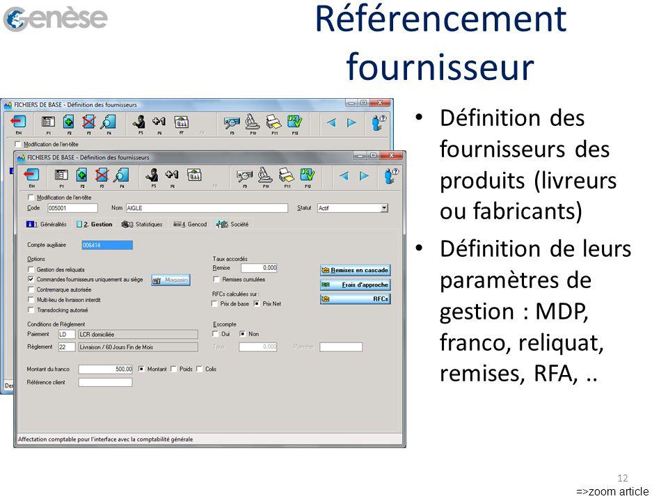 Référencement fournisseur Définition des fournisseurs des produits (livreurs ou fabricants) Définition de leurs paramètres de gestion : MDP, franco, r