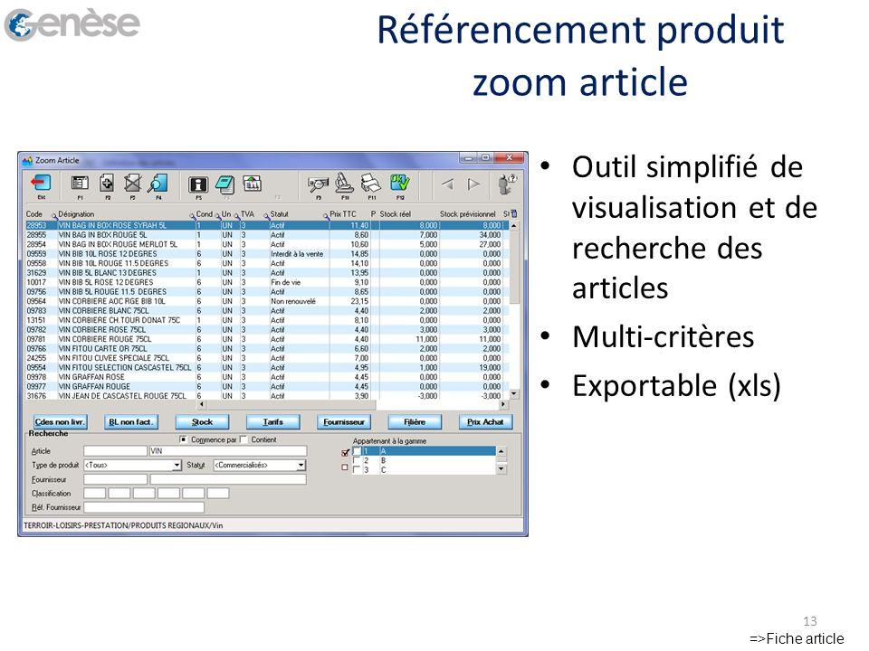 Référencement produit zoom article =>Fiche article 13 Outil simplifié de visualisation et de recherche des articles Multi-critères Exportable (xls)