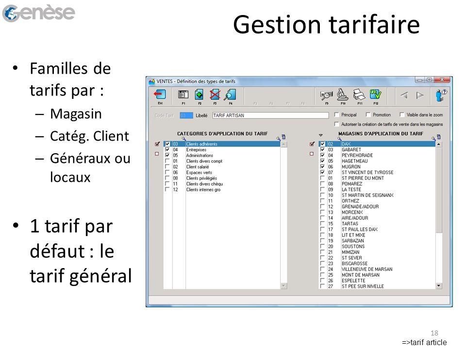 Gestion tarifaire Familles de tarifs par : – Magasin – Catég. Client – Généraux ou locaux 1 tarif par défaut : le tarif général =>tarif article 18